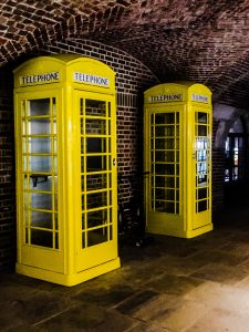 Yellow Telephone Boxes so we can hear ourselves in the office